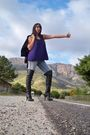 Purple-top-black-aldo-boots