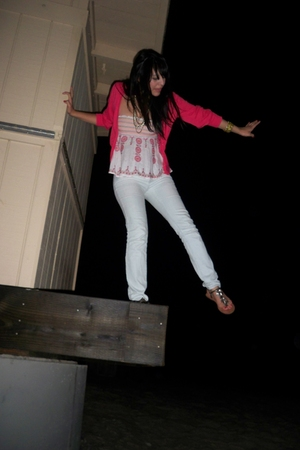 gold Gap shoes - white f21 jeans - pink trift sweater - white old BCBG top