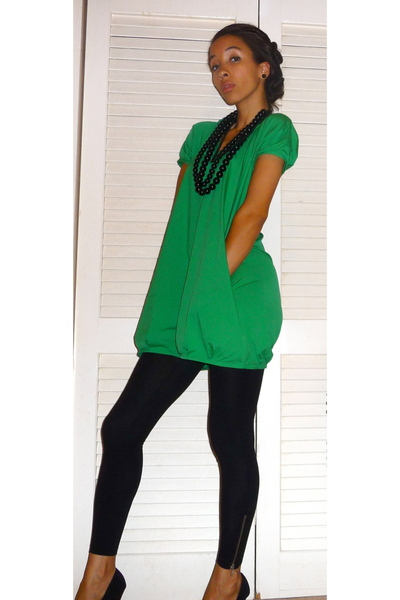 Green Dresses Black Leggings Black Shoes Easy Being Green By