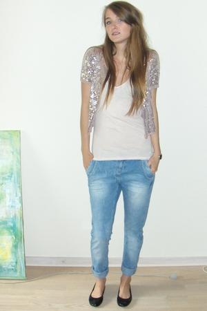 blue boyfriend Amisu jeans - black ballet flats H&M shoes - silver Eda Mae shirt