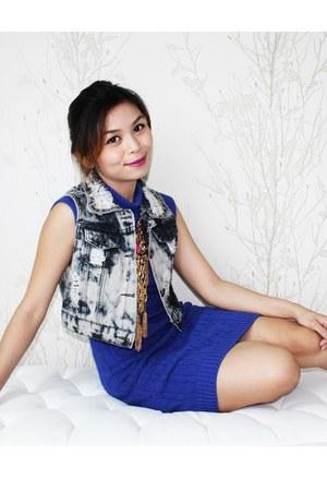 denim Flights of Fancy vest - knitted Gauge 12 dress