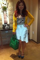 green Celine bag - mustard Zara jacket - light brown snakeskin hm blouse