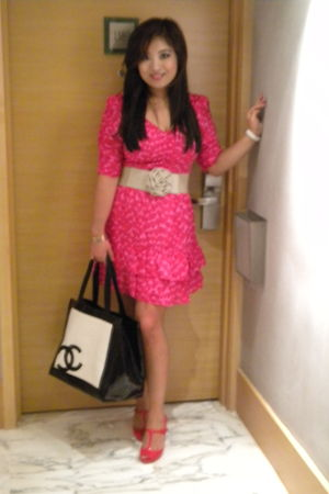 red Juicy Couture dress - black Chanel accessories - red Melissa accessories