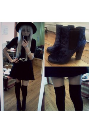 black H&M dress - navy Urban Outfitters boots - black H&M hat