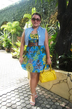 francis square bag - gift dress - thrifted blazer - FLY sunglasses