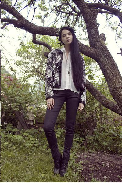 black DinSko shoes - black sequin vintage jacket - white GINA TRICOT blouse