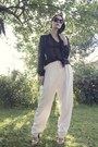 Black-zara-shoes-black-marc-jacobs-sunglasses-white-vintage-pants