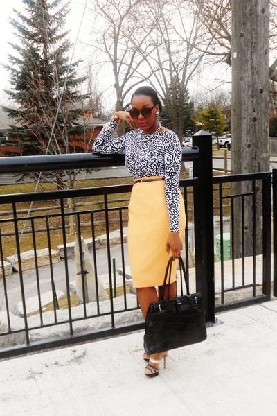 vintage high-waisted skirt shirt - printed midi dress