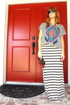 clutch bag - maxi skirt - crop top