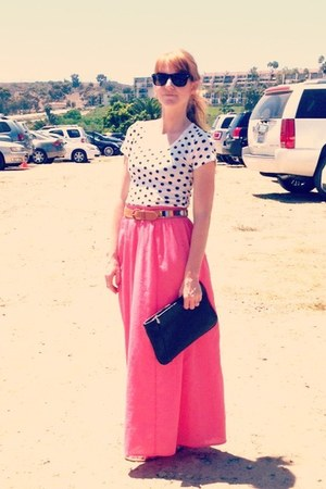 salmon skirt - black vintage bag - vintage belt - polka dot top