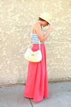 salmon maxi skirt - neutral vintage bag - teal striped top