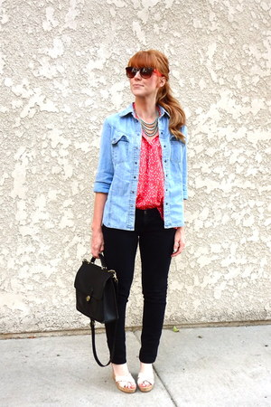 polka dot Forever 21 blouse - skinny jeans - denim shirt - vintage coach bag