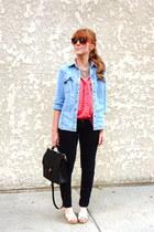 polka dot Forever 21 blouse - skinny jeans - denim shirt - vintage coach bag