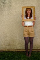 blouse - belt - shorts - Anthropologie tights