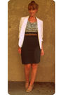 French-connection-blazer-blouse-belt-necklace-american-apparel-skirt