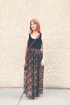 maxi skirt - vintage bag - vintage belt - top