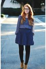 Navy-polka-dot-blouse-mustard-candies-boots-blue-coat-black-tights