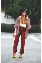 vintage blouse - Candies boots - floppy hat - pants - kimono cardigan