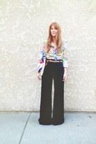 vintage blouse - navy jeans - vintage bag