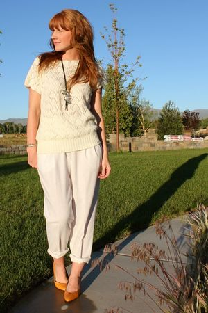 beige vintage sweater - beige vintage pants - gold vintage shoes - vintage acces