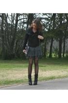 Ebay jacket - forever 21 dress - Guess boots - melie bianco purse