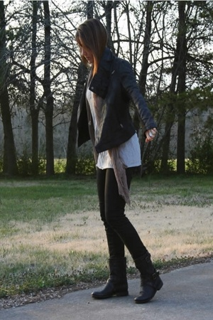 Ebay jacket - forever 21 t-shirt - scarf - forever 21 jeans - Palladium boots