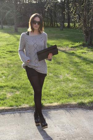 silver vintage sweater - black Forever 21 shorts - black vintage purse - black a