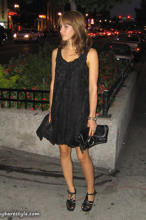 vintage dress - melie bianco purse - Charlotte Ronson shoes