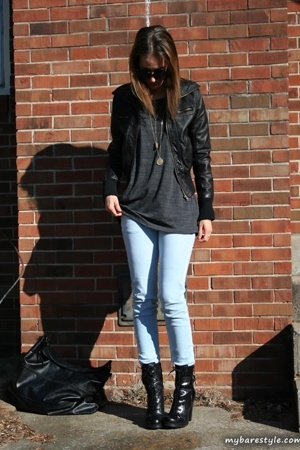 forever 21 jacket - vintage shirt - forever 21 jeans - Guess shoes - bare access