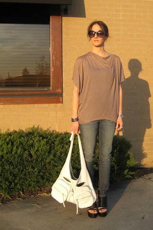beige alternative shirt - blue Forever 21 jeans - white Seventh Door purse - bla
