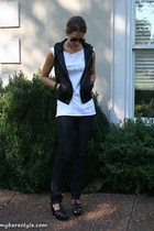 American Apparel shirt - forever 21 vest - Charlotte Ronson shoes - bare accesso