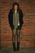 H&M jacket - H&M scarf - forever 21 t-shirt - forever 21 skirt - Guess boots