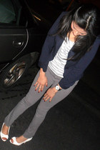 white top - heather gray Guess leggings - navy blazer - white heels