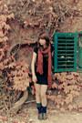 Dark-brown-thrifted-vintage-shoes-black-zara-dress-ruby-red-pimkie-scarf