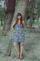 blue Bershka dress - brown bronx shoes - black by me necklace - silver from Turk