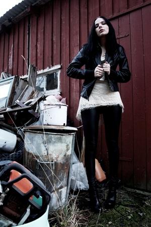 black faux-leather jacket - beige lace dress - leggings - black boots