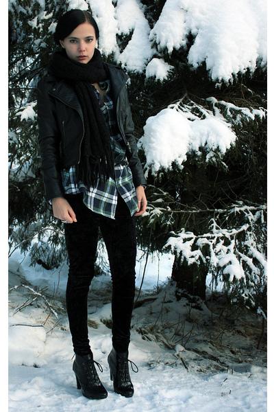 green plaid shirt - black faux-leather jacket - black Velvet leggings - black sc