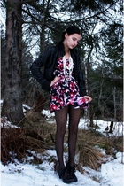 pink kappahl floral dress - black jsfn shoes - black cubus faux-leather jacket