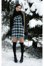 Green-plaid-shirt-black-faux-fur-knit-jacket-black-scarf-black-stockings-