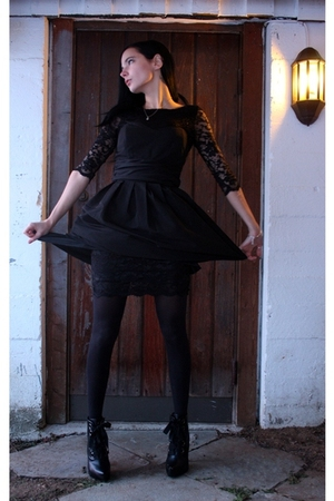 black lace dress - black dress - black tights - black shoes - silver bracelet -