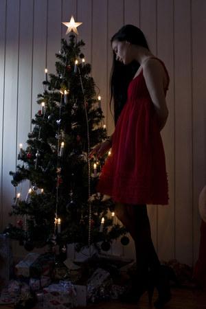 red Only dress - black lindex tights - black JSFN shoes
