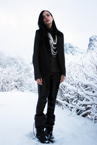 black sequined tights - gray knit sweater - black vest - black boots - white pea