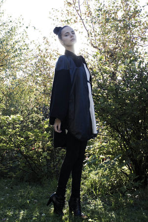 black Monki coat - white Cubus dress - black Cubus belt - black BikBok tights -