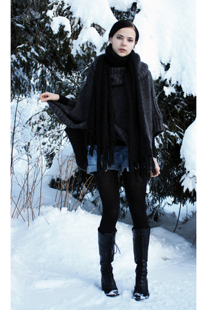 gray Poncho sweater - blue shorts - black turtleneck sweater - black scarf - bla