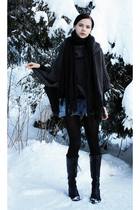 gray Poncho sweater - blue shorts - black turtleneck sweater - black scarf - bla