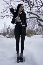 black litas Jeffrey Campbell shoes - black Divided jacket - black Kmart tights -