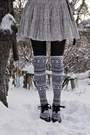 White-bikbok-skirt-white-h-m-stockings-black-h-m-sweater-gray-stradivarius