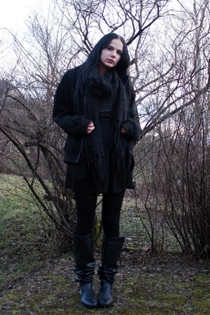 black mens jacket - black pearl-details dress - black scarf - black leggings - b