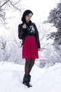 Black-nellycom-boots-hot-pink-bikbok-dress-black-leathery-cubus-jacket-bla