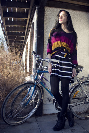 orange striped Monki shirt - white striped Monki shirt - black Kmart tights - bl